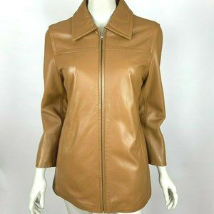 Coach Soft Genuine Leather Full Zip Jacket Brown